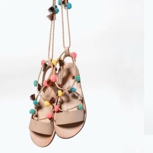 Zara Girls Poms & Fringe Sandals Size 1